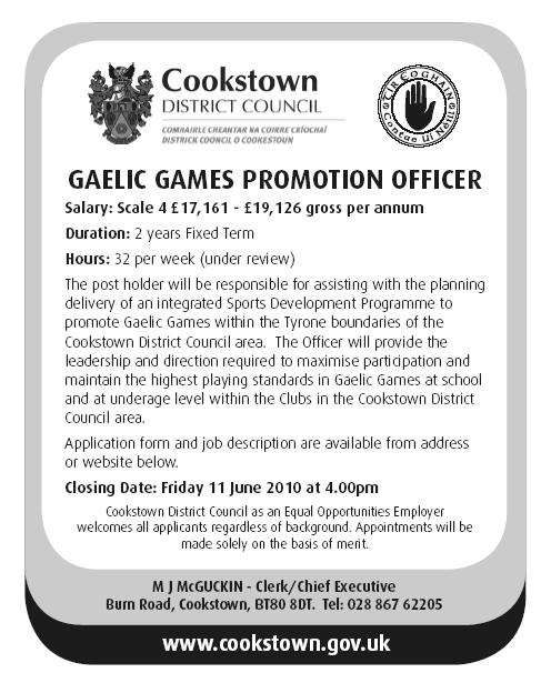 Gaelic Games Promotion Job Advert