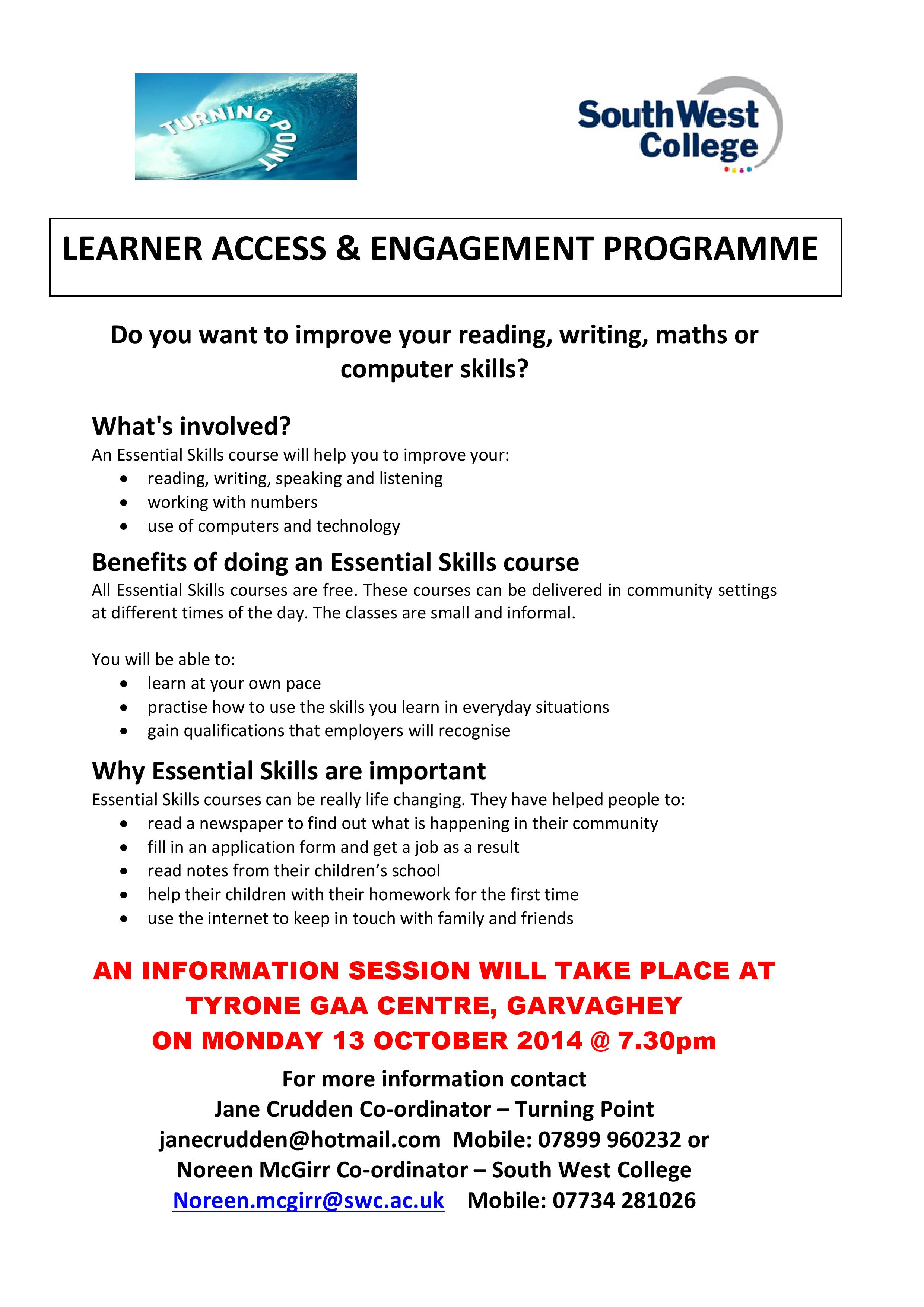 Essential Skills course @ Garvaghey Centre 13th October