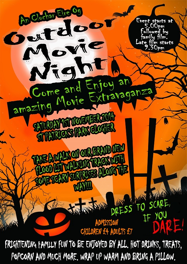 Clogher Eire Og Halloween Outdoor Movie night – Sat 1st November