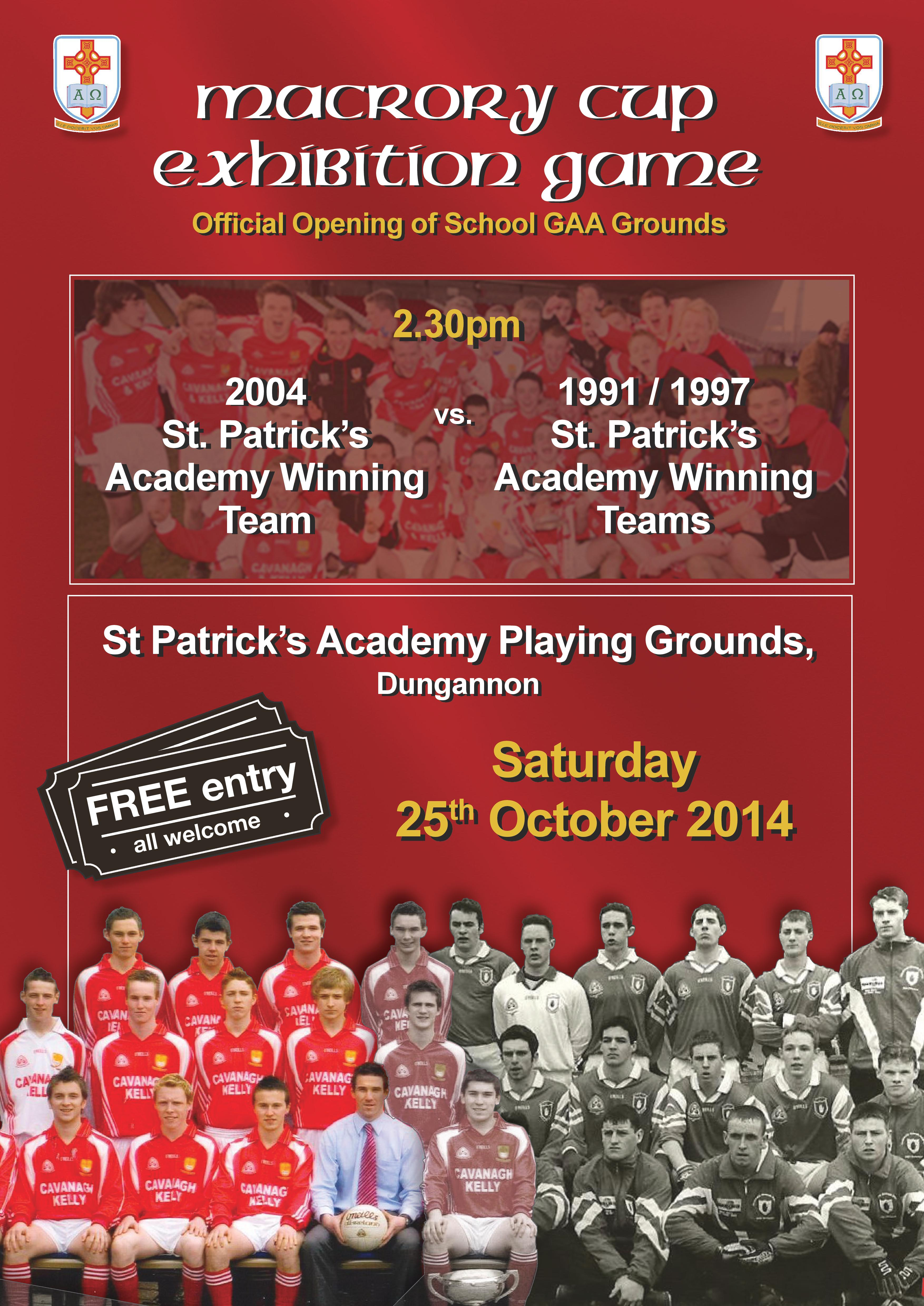 St Pat's Academy GAA grounds opening 25th October