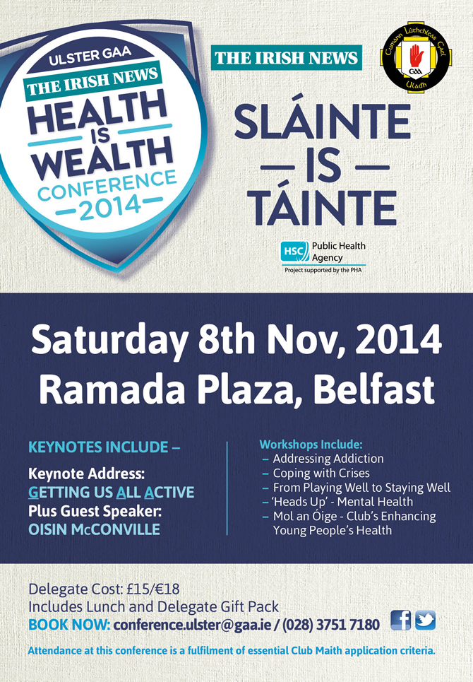 Ulster GAA Health & Wellbeing Conference – This Saturday