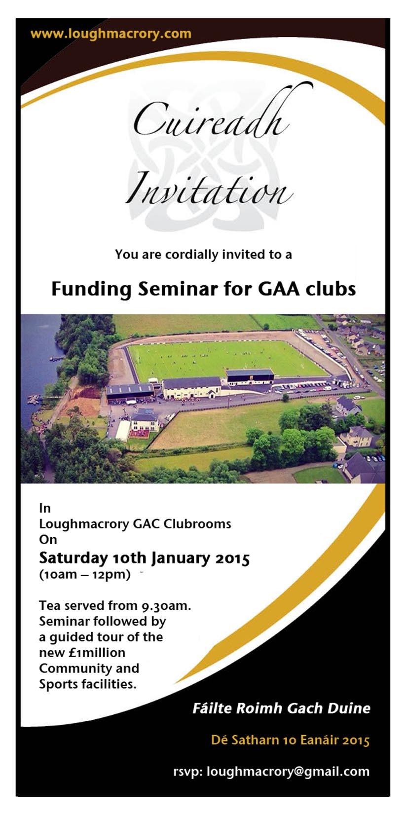 Funding Seminar for GAA Clubs – Loughmacrory – Saturday 10th January