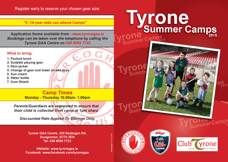 2015 Tyrone Summer Camps – Registration now open