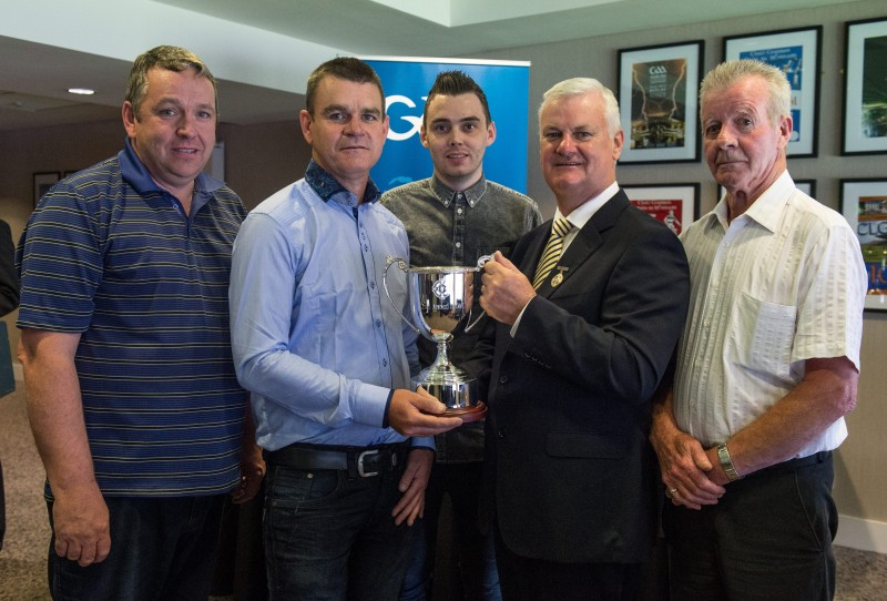 5 July 2015; Uachtarán Chumann Lúthchleas Gael Aogán Ó Fearghail with, from left, Michael Kerr, Brendan O'Neill, Marc McAvoy and Ignatious O'Neill at the dedication of the 'Andrew O'Neill Cup' - U-21 C. Six trophies were renamed in honour of some great servants of the Association. Andrew O'Neill was a young hurler from Naomh Colm Chille club in Clonoe, Co Tyrone, who died tragically in Liverpool in 2010. He played corner back on the Clonoe team that won their first championship in 2005. Dedication of GAA Hurling Trophies. Croke Park, Dublin. Picture credit: Ray McManus / SPORTSFILE *** NO REPRODUCTION FEE ***
