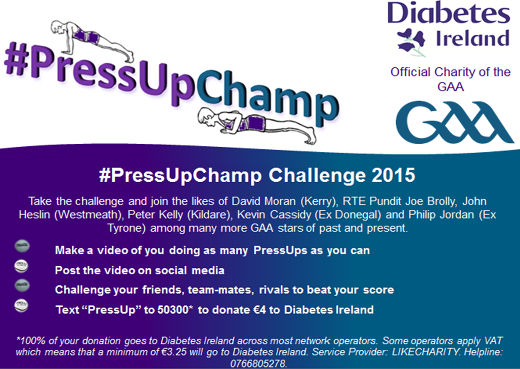 GAA Stars Take Diabetes Ireland #PressUpChamp Challenge