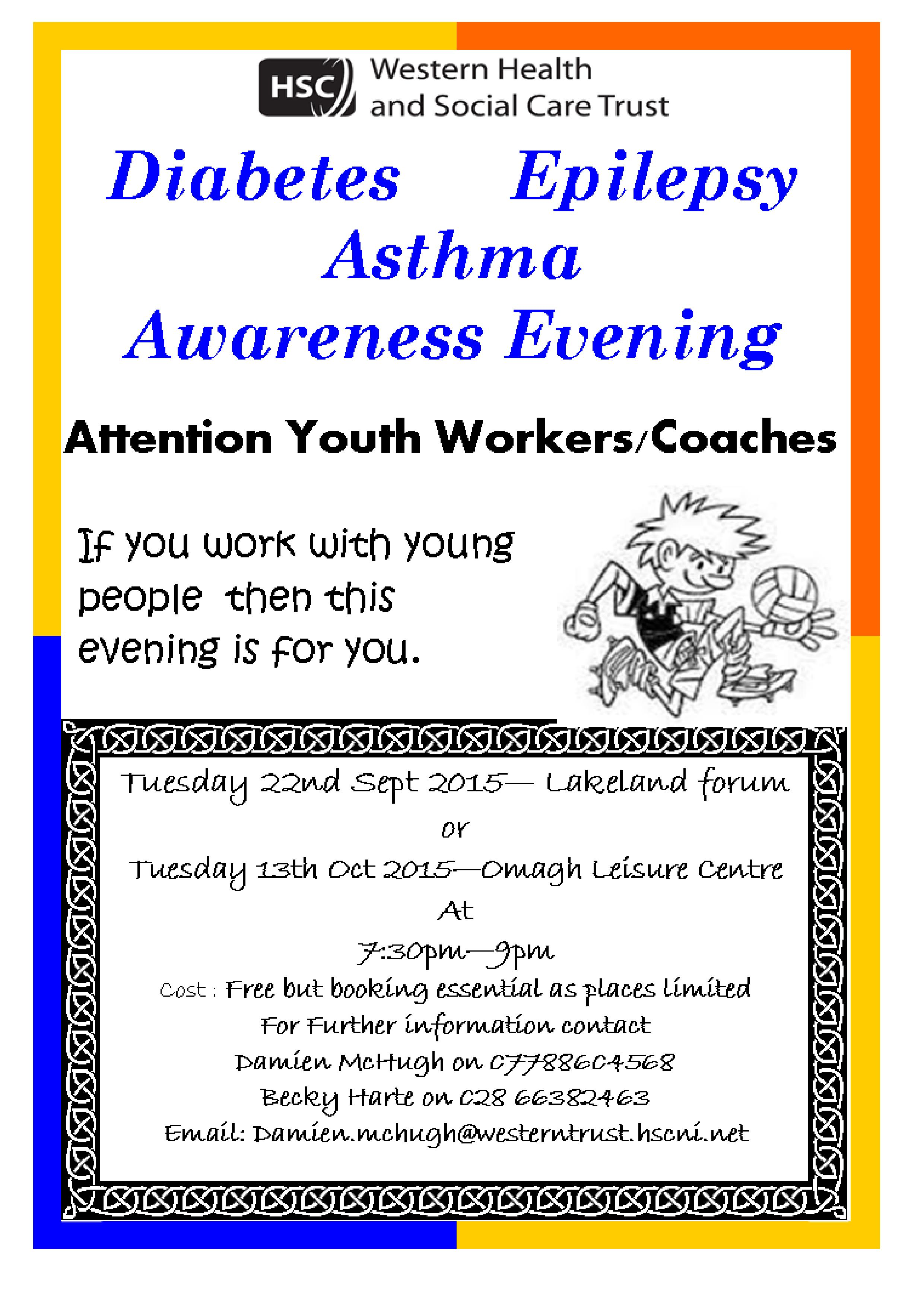 Asthma Epilepsy and Diabetes Awareness evening for coaches