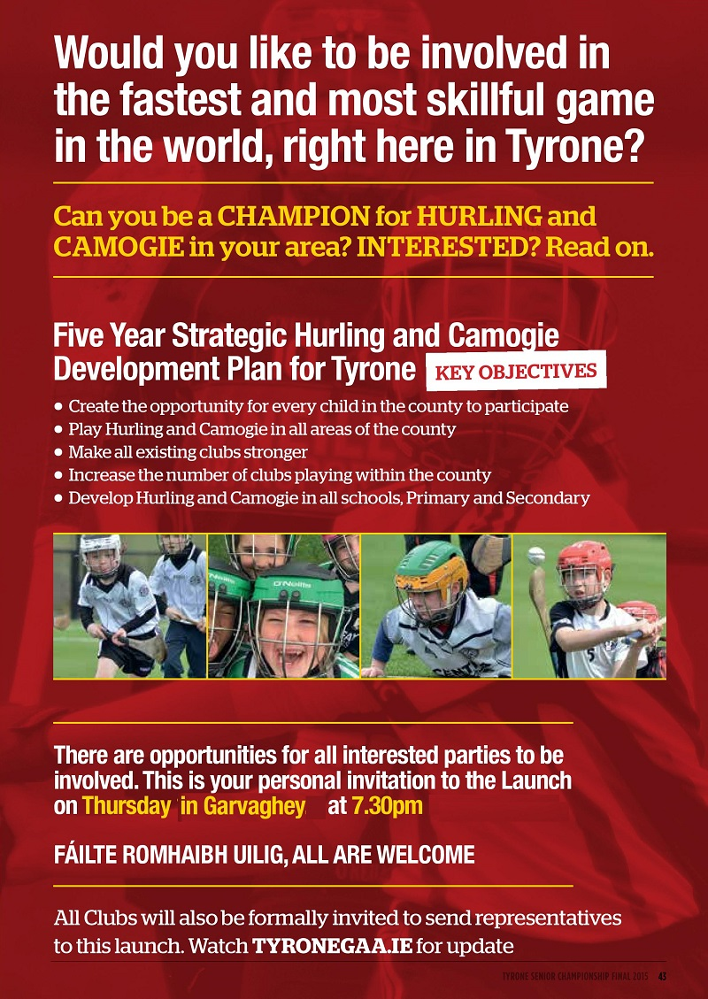 Hurling Development Plan Launch Thursday 26th November