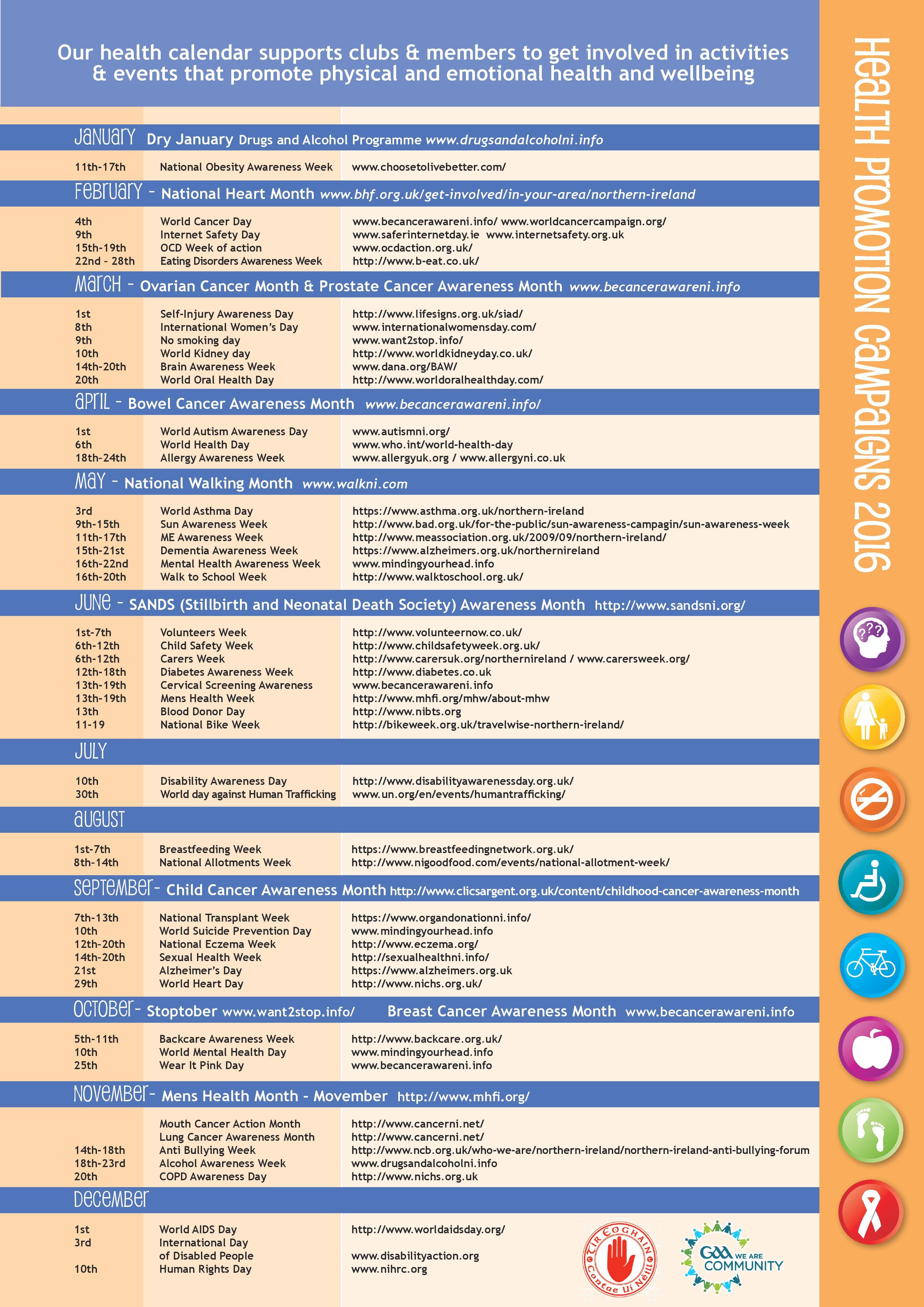 2016 Health & Wellbeing Calendar