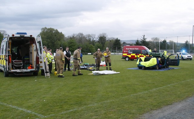The scene at the 'Live to Play' demonstration in Killyclogher's playing grounds on Monday night to emphasis the dangers of what can happen when driving. The demonstration was attended by the N Ireland Fire and Rescue Serrvice; PSNI and Order of Malta. The event was was organised by the Ulster GAA Council and the Tyrone County Board with members of the  Gardai Siochana in attendence. The demonstration was attended by members from the Killyclogher club, Tattyreagh, Omagh, Drumragh and Loughmacrory