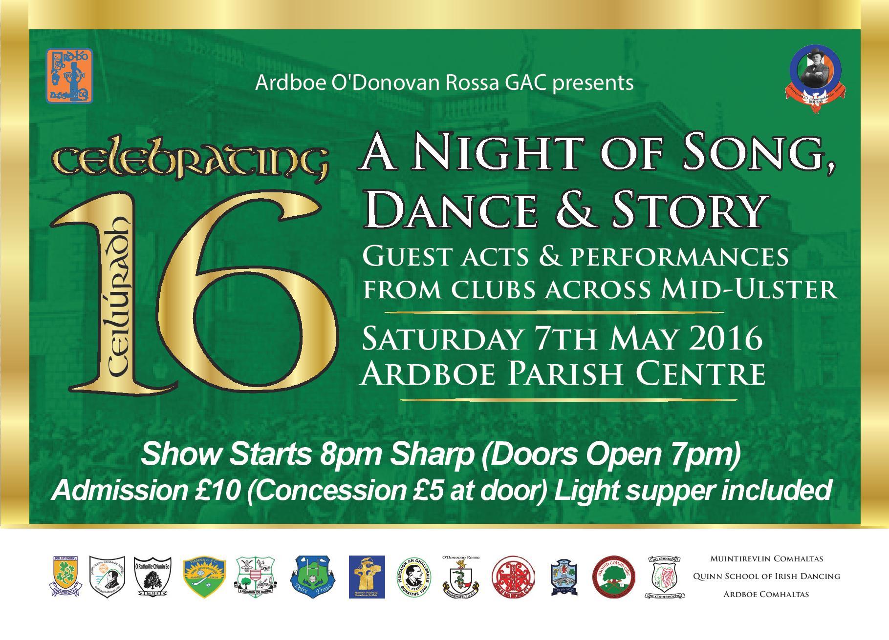 Ardboe present Celebrating 16 – Saturday 7th May