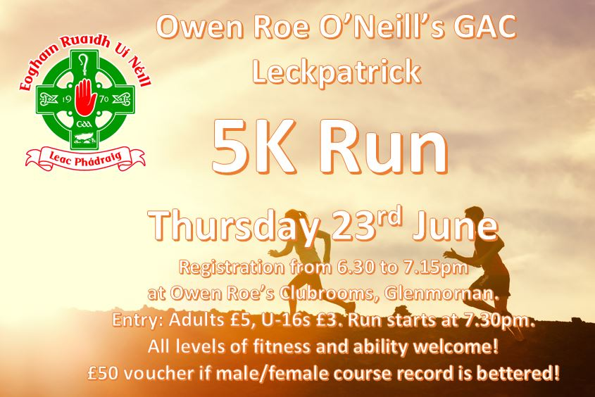 Owen Roes 5k Run – Thursday 23rd June
