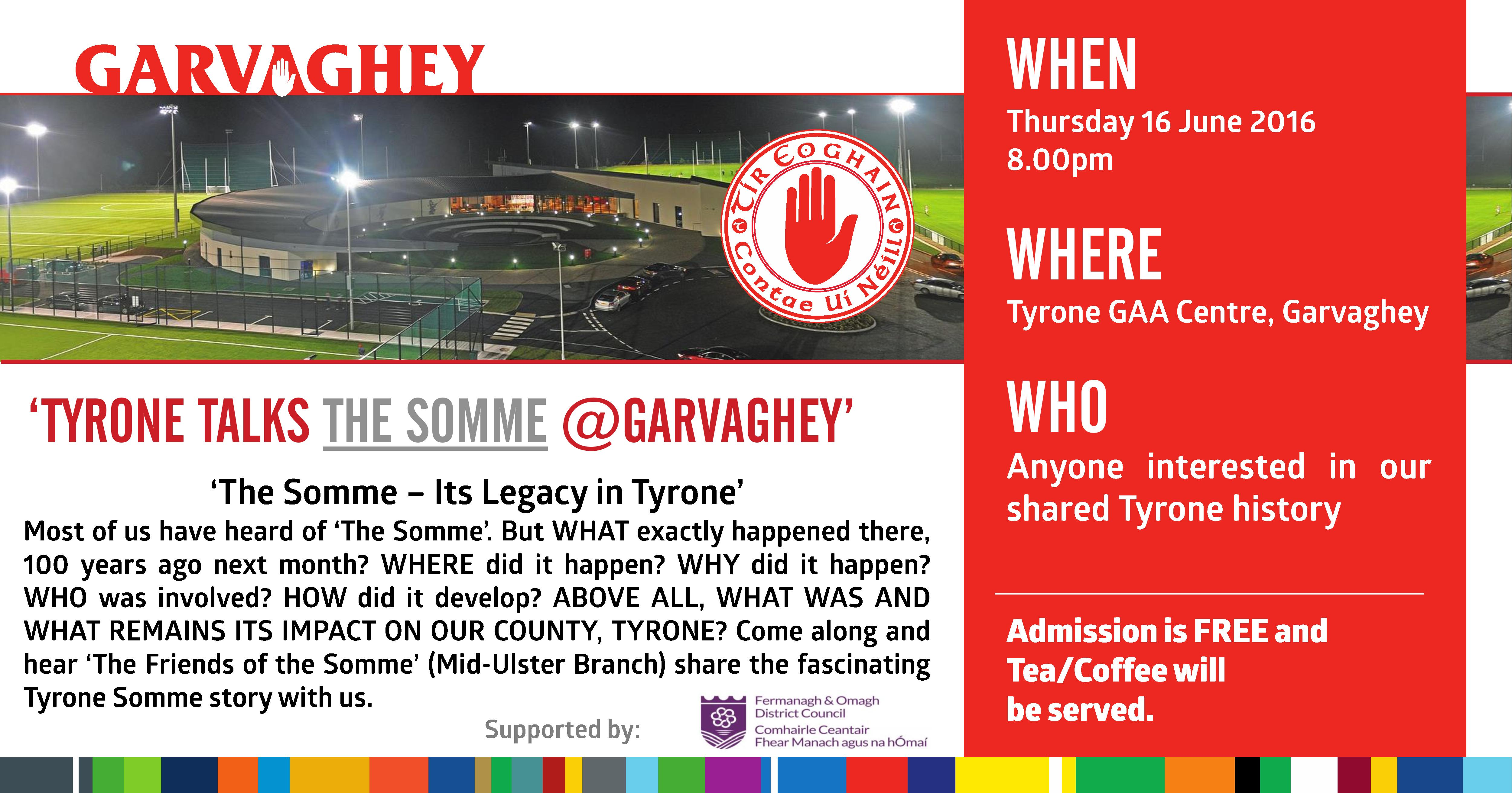 Tyrone Talks The Somme at Garvaghey