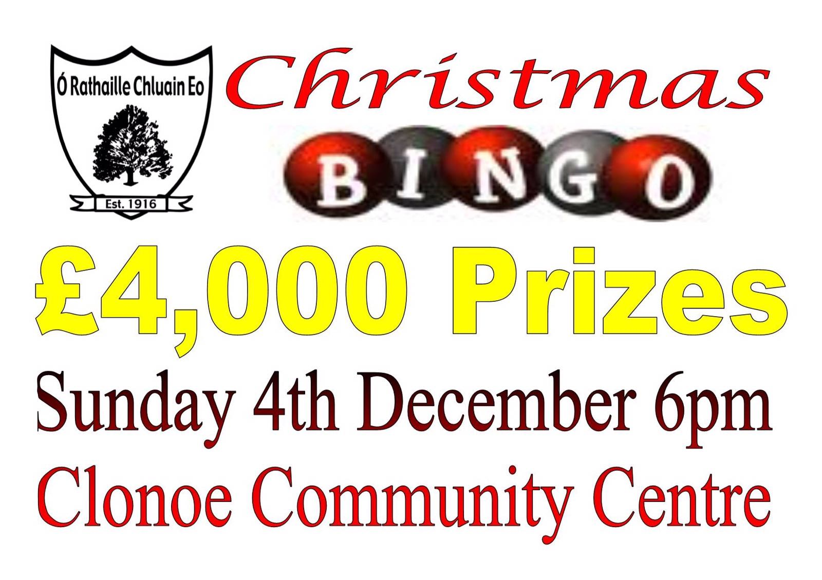 Clonoe O'Rahilly's Christmas Bingo 4th December