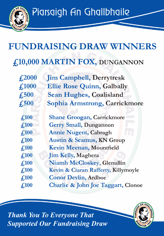 Galbally Fundraising Draw results