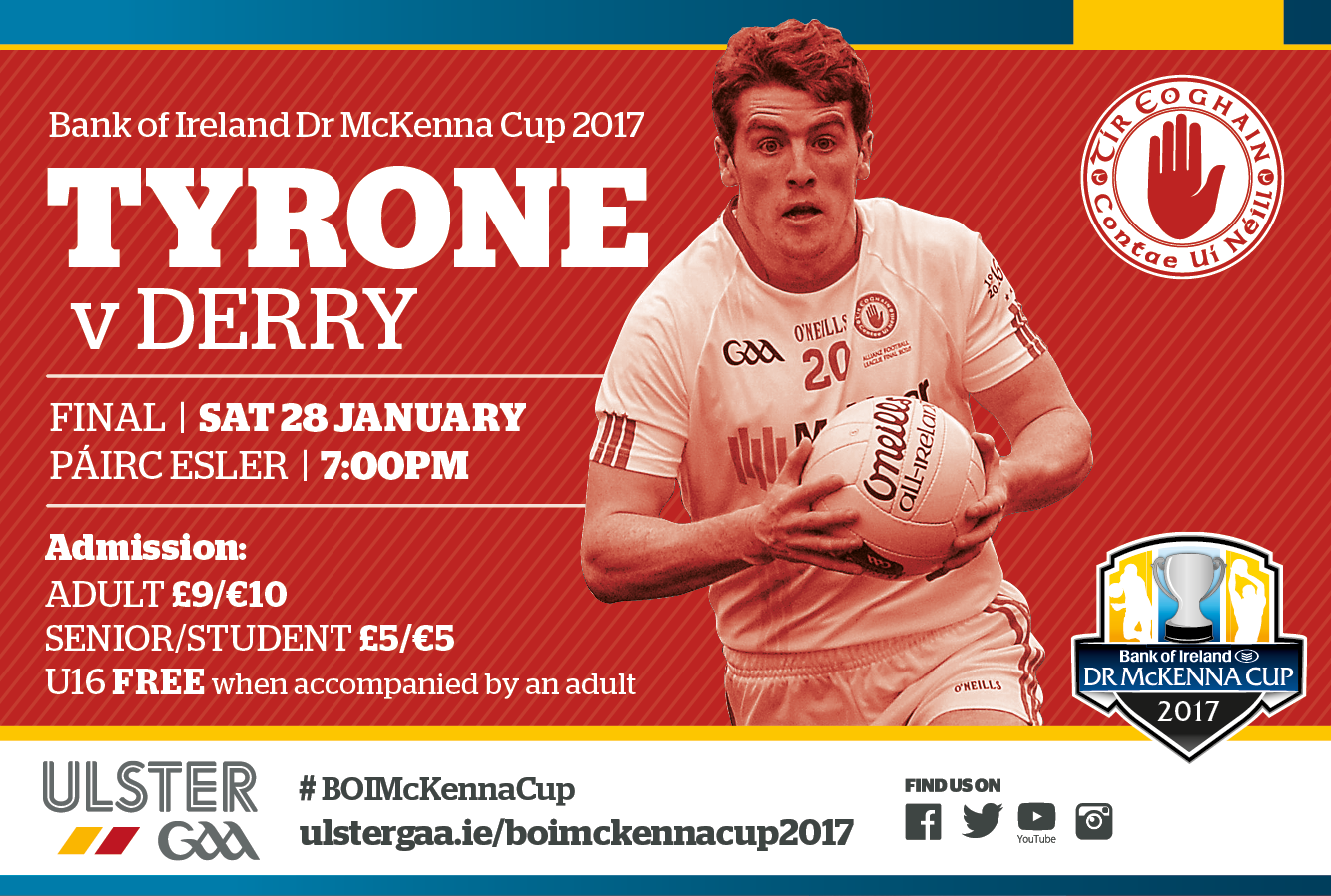 Tyrone team v Derry BOI Dr McKenna Cup Final 28 January 2017