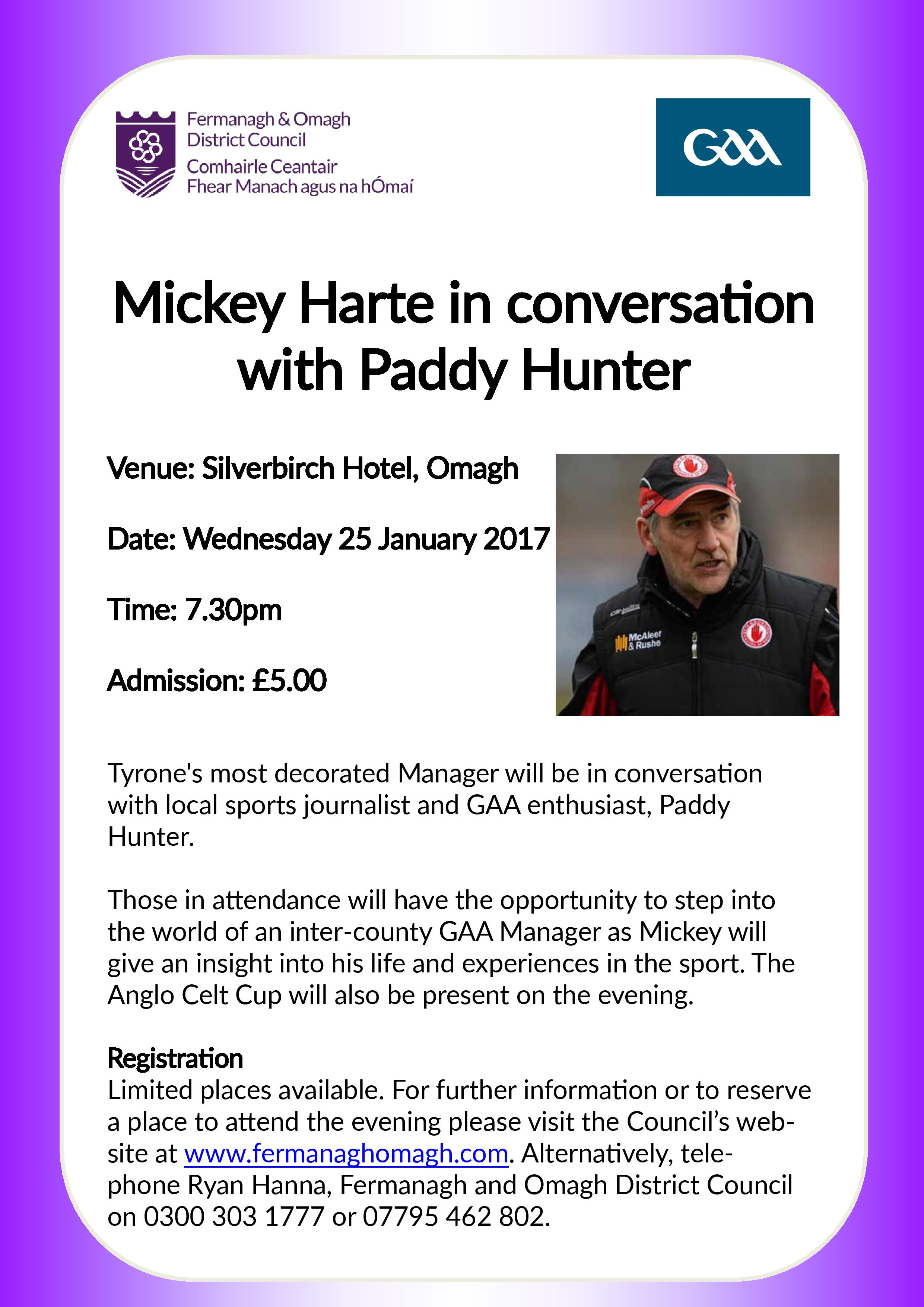 Mickey Harte in conversation with Paddy Hunter – this Wednesday night