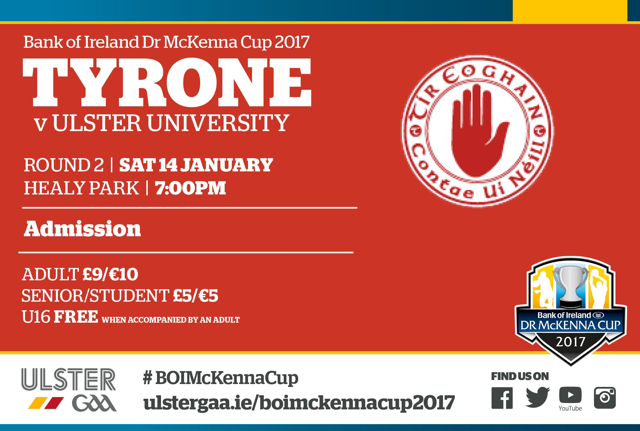 Tyrone team v Ulster University 14/1/17
