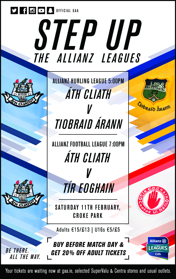 Tyrone team v Dublin Allianz Football League Saturday 11th February