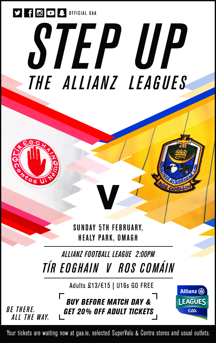 Tyrone team v Roscommon Allianz Football League 5th Feb 2017