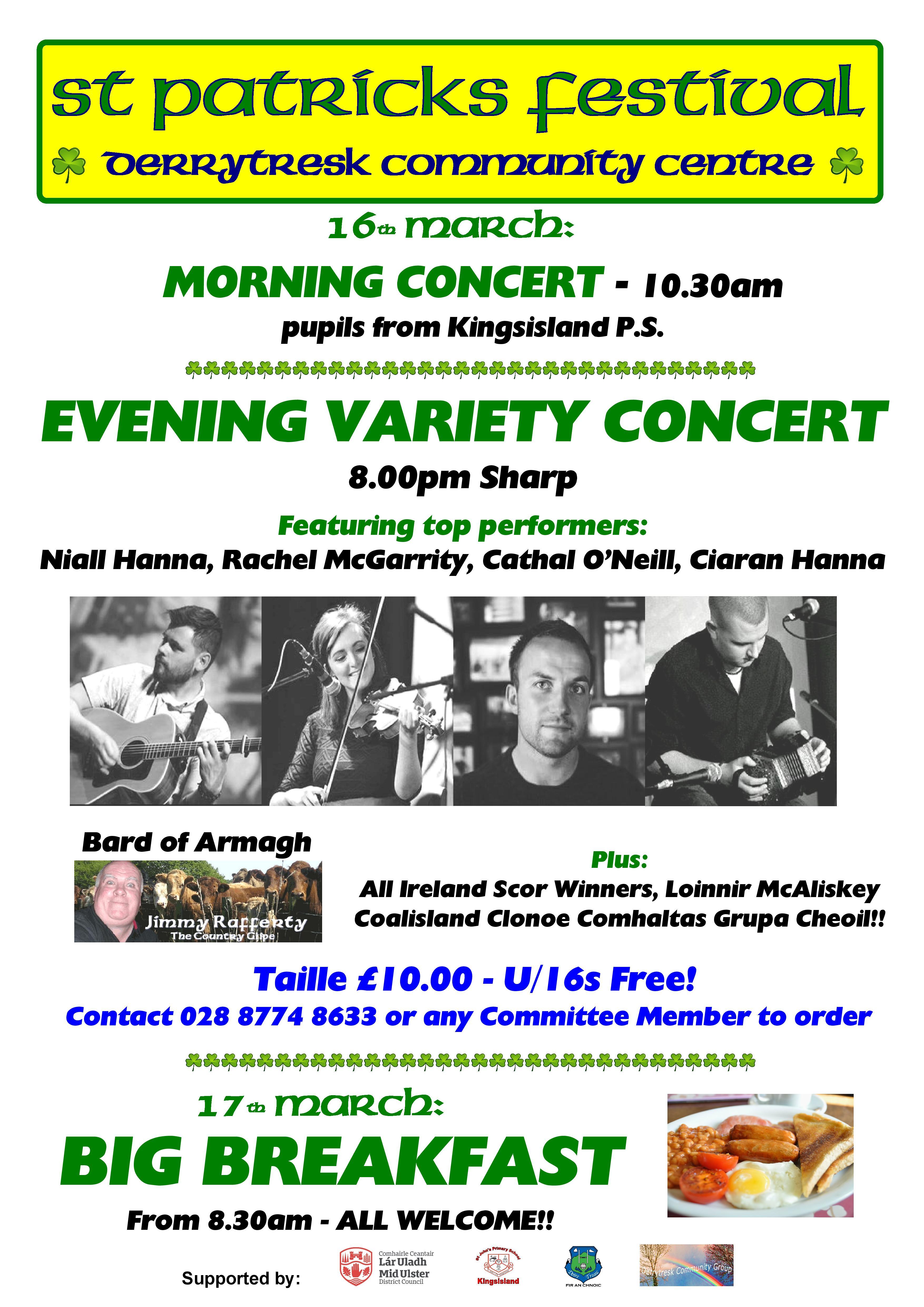 Derrytresk to host St Patrick's Festival