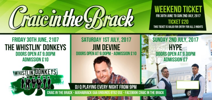 20th ANNUAL CRAIC IN THE BRACK FESTIVAL – WEEKEND TICKETS ON SALE NOW!!
