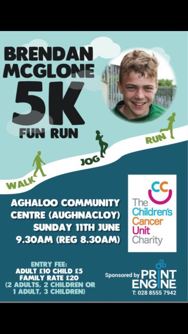 Brendan McGlone 5k Fun Run Sunday 11th June