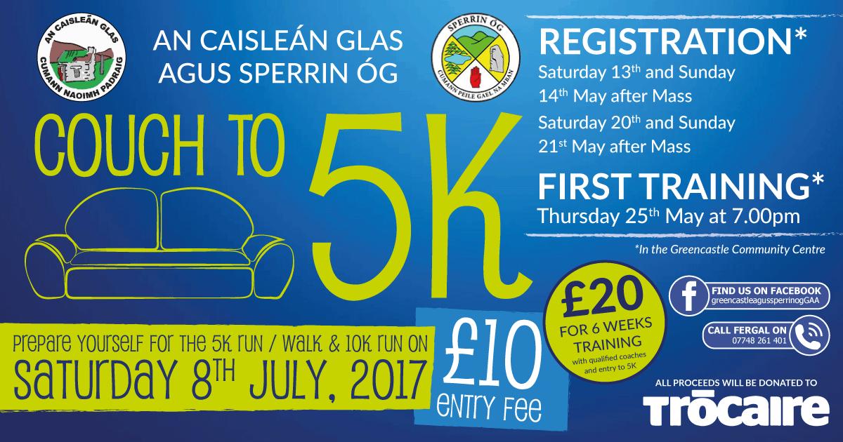 Greencastle 10K Run/ 5k Walk Saturday 8th July & Couch to 5K training