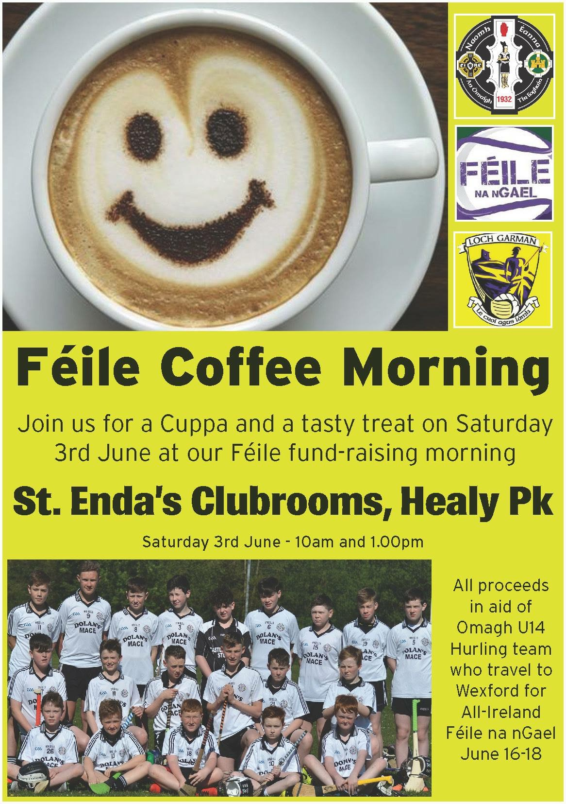 Omagh St. Enda's U14 hurlers host coffee morning