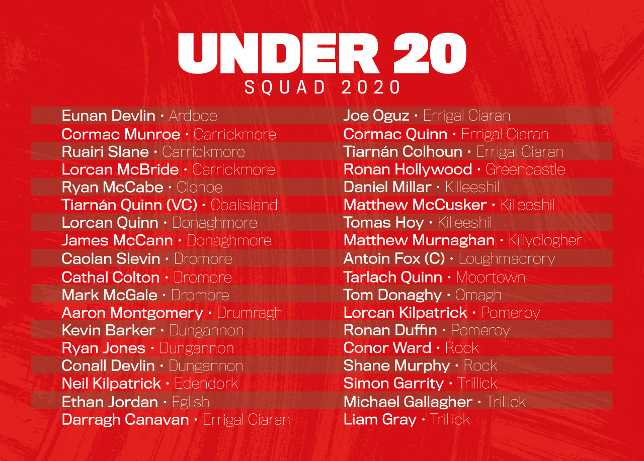 Tyrone U20 squad 2020