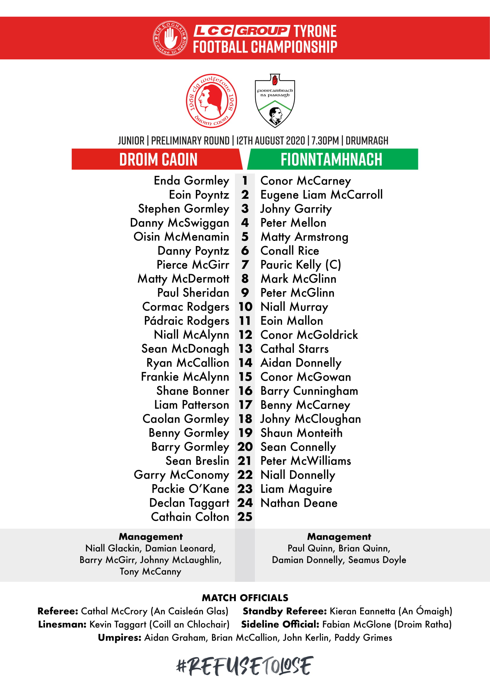 LCC Group Junior Championship Preliminary Rd. Drumquin V. Fintona Team Lineouts