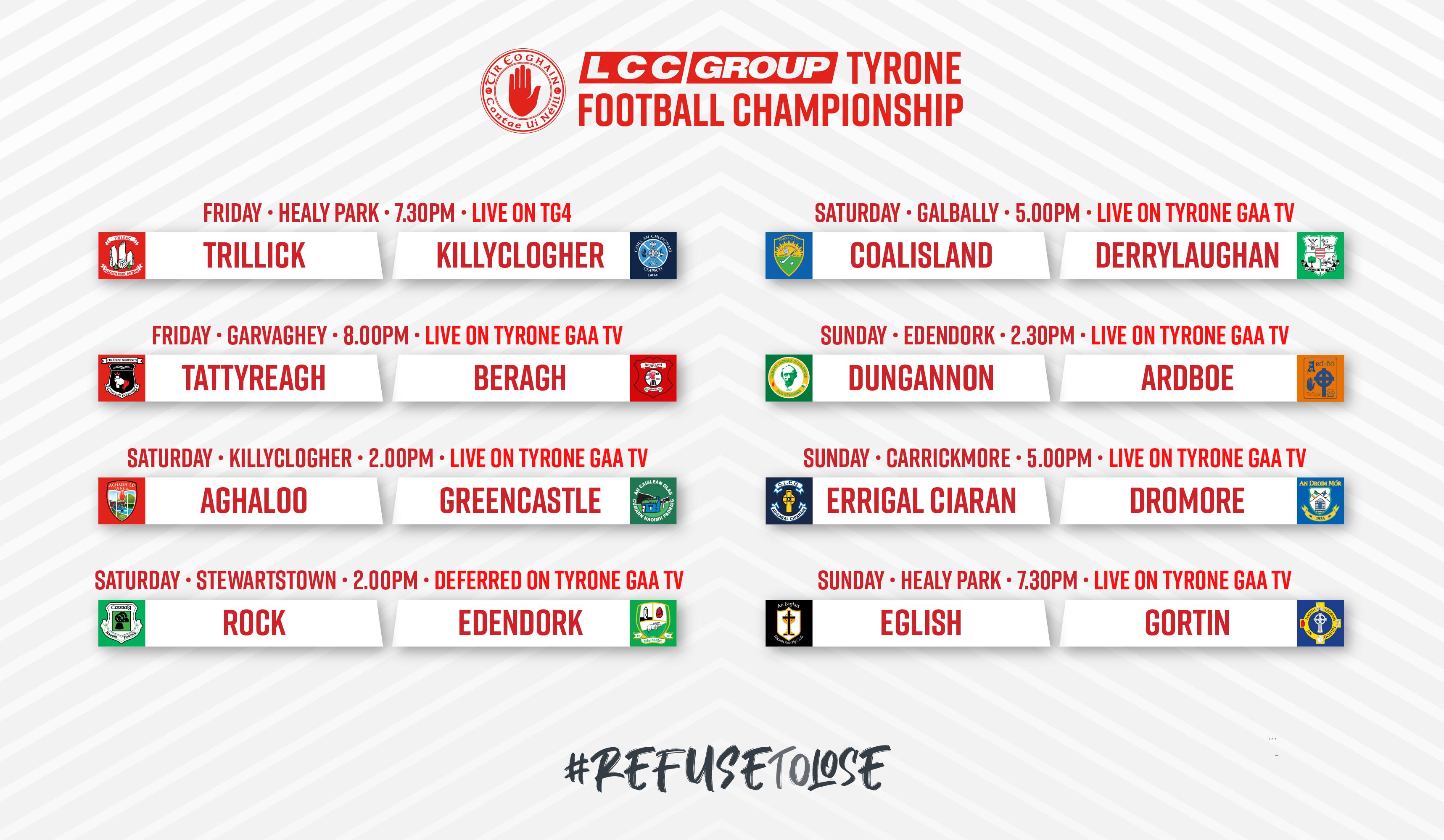 Tyrone GAA TV Fixtures Schedule for Senior & Intermediate LCC Group Championship Q/Finals