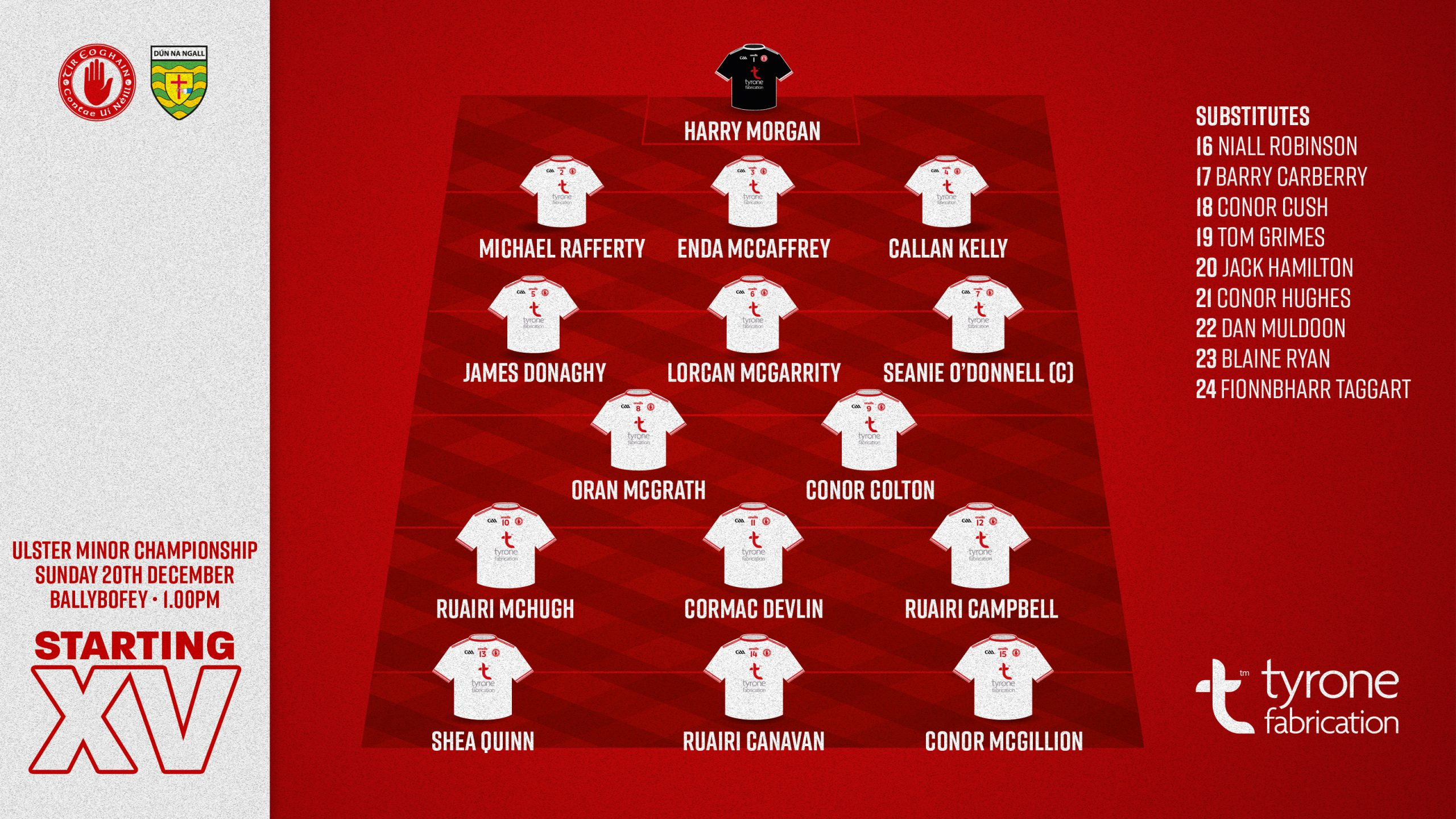 Tyrone Name U.17 Team to Play Donegal in the UMFC